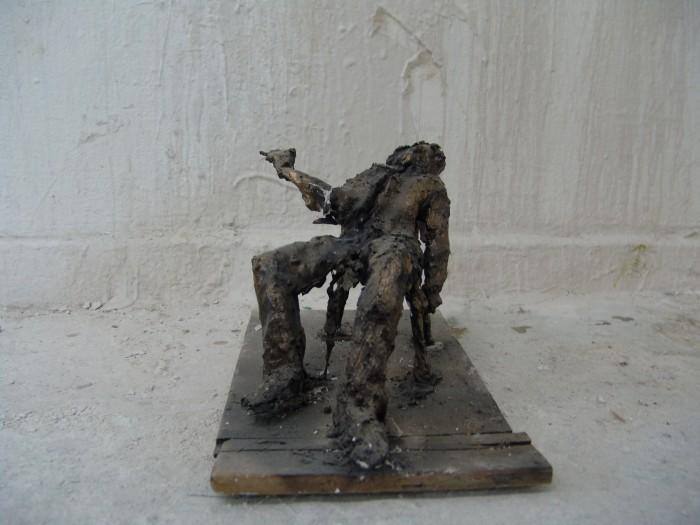 Raafed Jarah 118, The drunken, 30 X 15 X 12 cm. from white Cement, paper, 2006